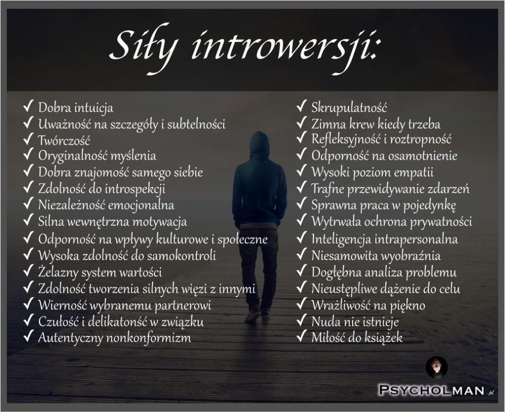Lista mocnych stron i sił introwersji oraz osoby introwertycznej, czyli introwertyka.